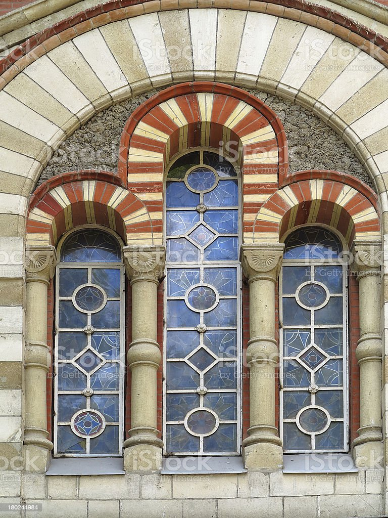 Antigo manchado janela de vidro alto Gótica foto de stock royalty-free