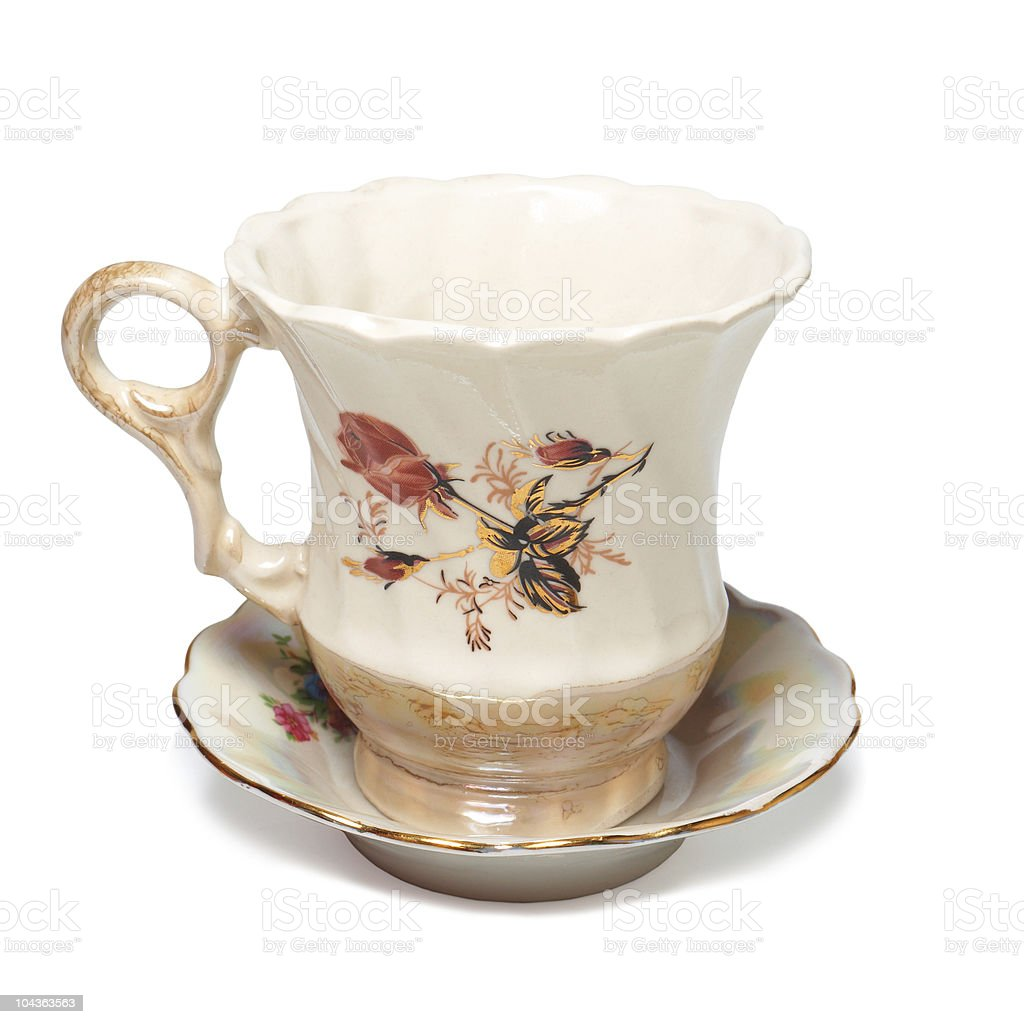 Ancient teacup on saucer royalty-free stock photo