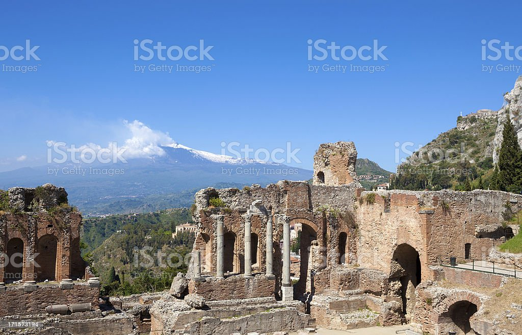 Ancient Teatro Greco in Taormina and Etna, Sicily Italy stock photo