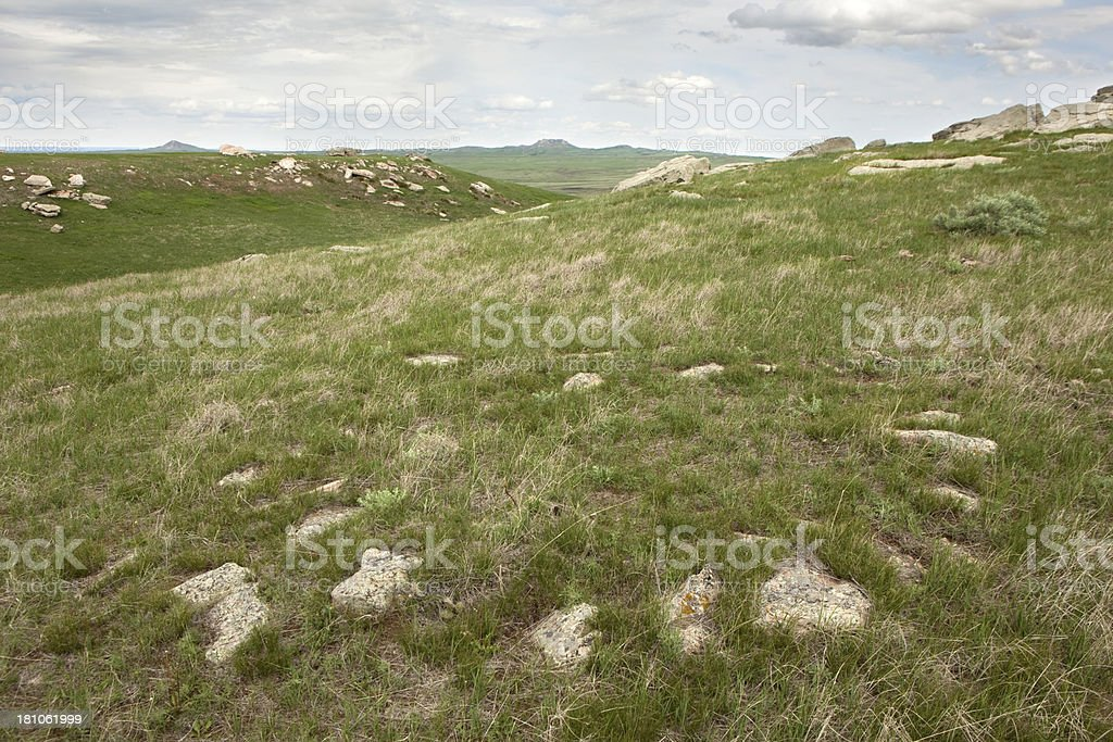 Ancient teepee rings on plains of South Dakota royalty-free stock photo