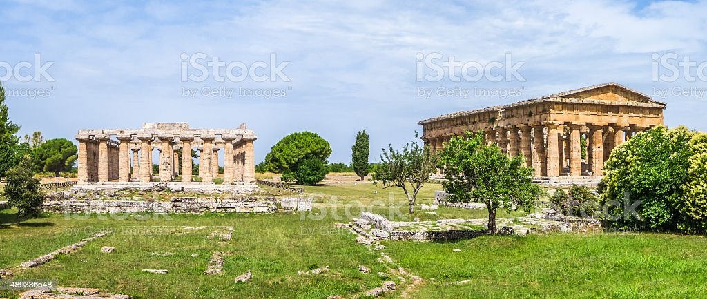 Ancient temple at famous Paestum Archaeological, Campania, Italy stock photo