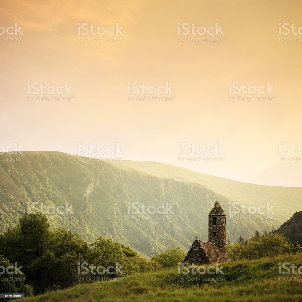 ancient temple at sunset stock photo