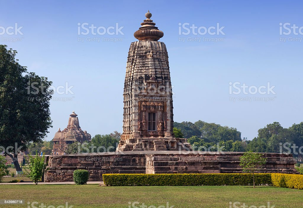 Ancient temple in Khajuraho, India stock photo