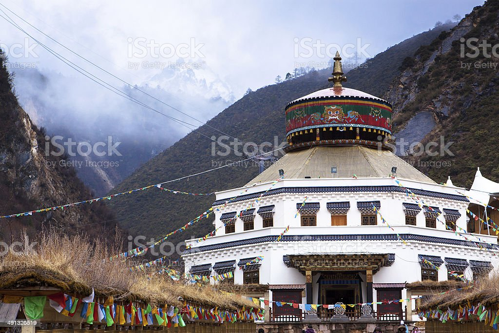 Ancient Temple in Tibet Style at Blue Moon Valley stock photo