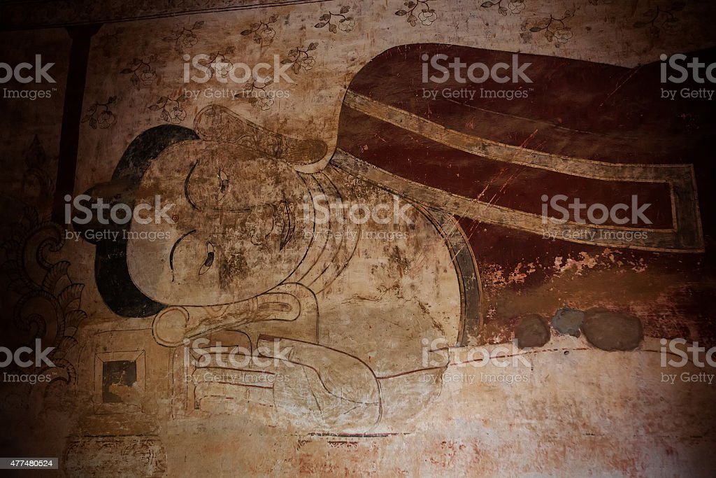 Ancient temple mural painting inside in Bagan, Myanmar stock photo