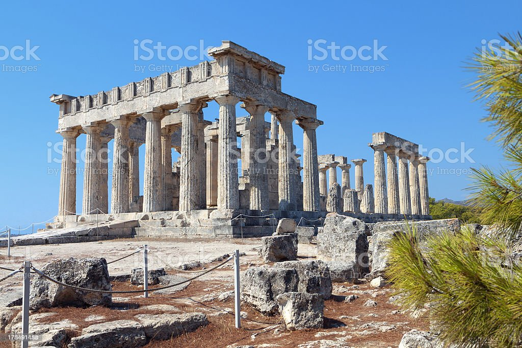 Ancient temple of Aphaia at Aegina island in Greece royalty-free stock photo