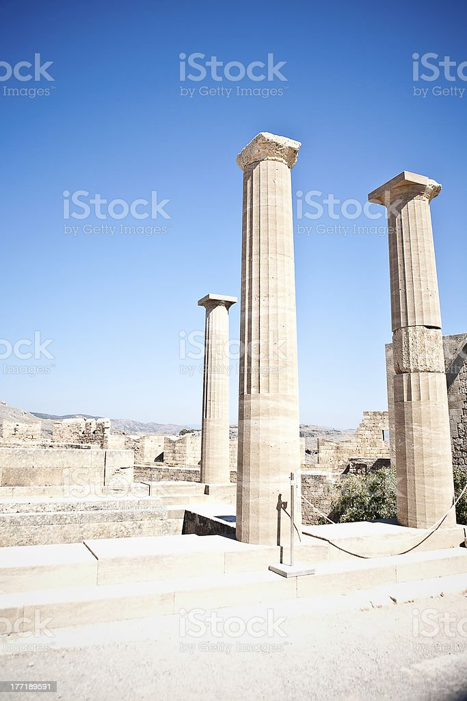 Ancient temple of Apollo at Lindos,  Greece royalty-free stock photo