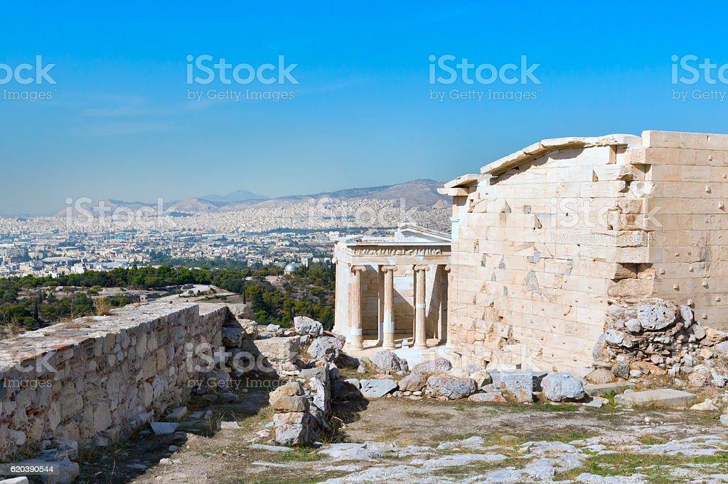 Ancient temple of Athena Nike in Acropolis, Athens stock photo