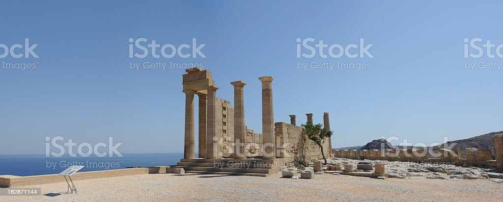 Ancient Temple of Athena Rhodes Greece stock photo
