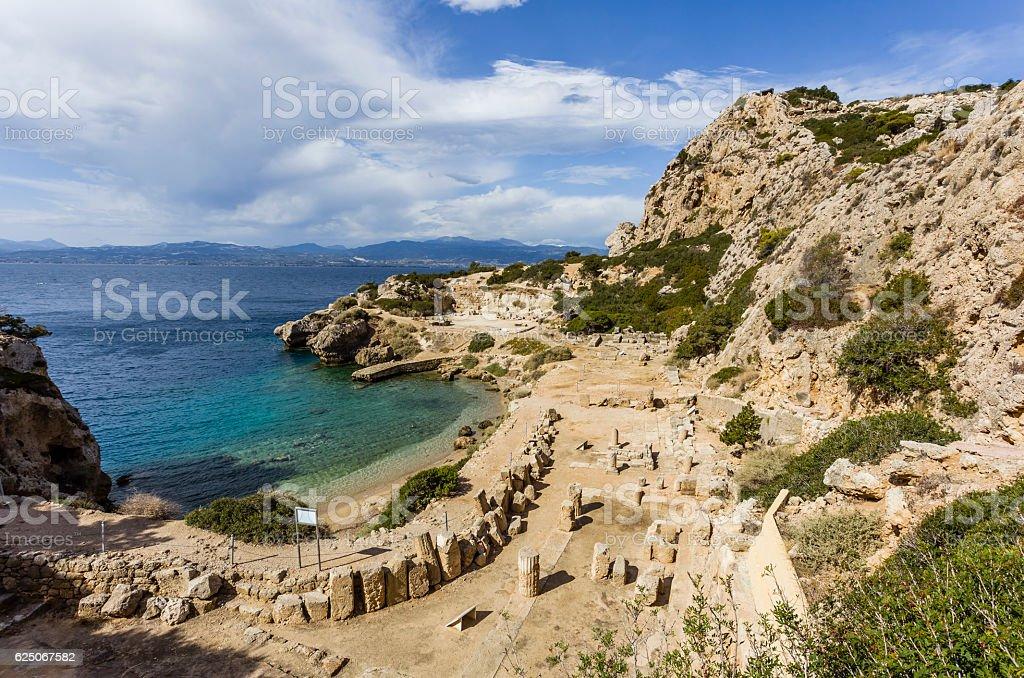 ancient temple of Hera ruins in Loutraki stock photo