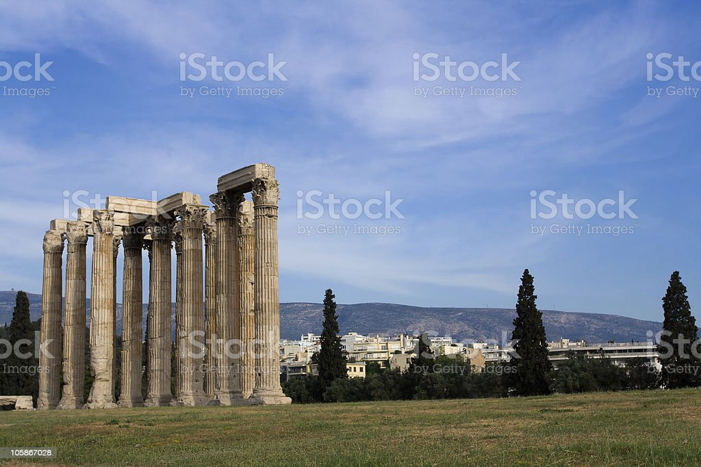 Ancient Temple of Olympian Zeus Athens Greece blue sky background royalty-free stock photo