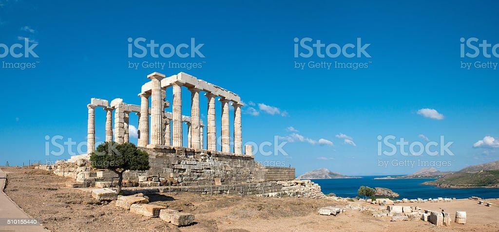 Ancient temple of Poseidon at Cape Sounion. Greece stock photo