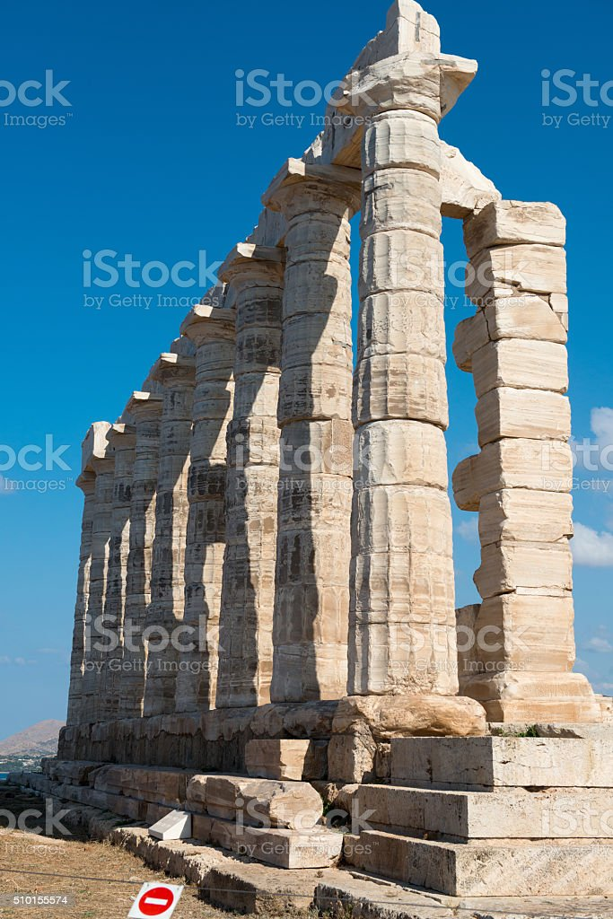 Ancient temple of Poseidon at Cape Sounion. Greece stock photo