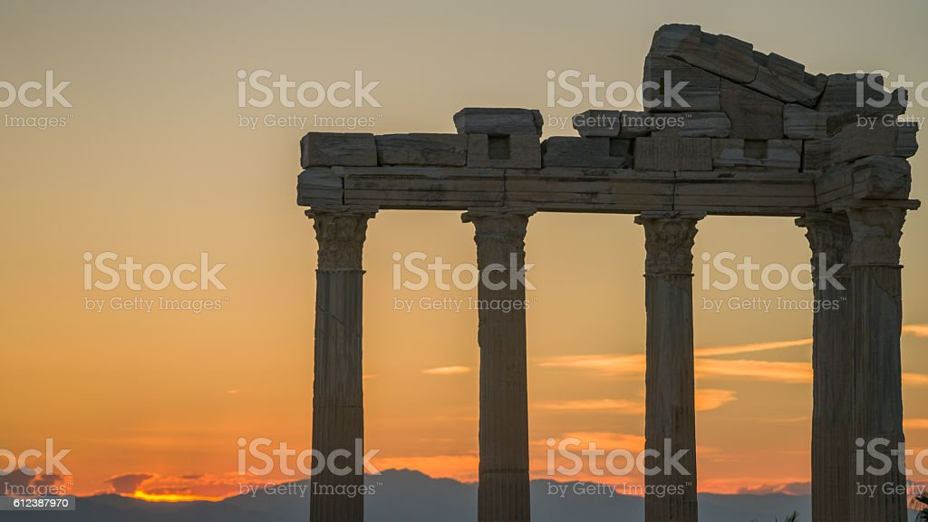 ancient temple of the apollon ancient city side turkey stock photo