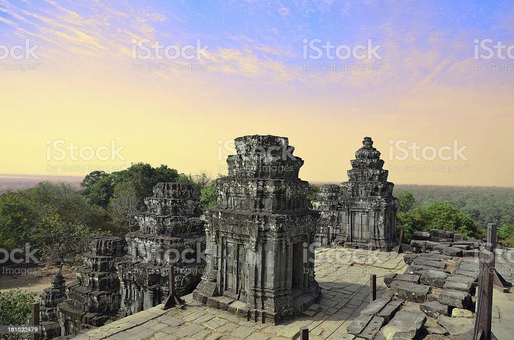 Ancient temple Phnom Bakheng in Angkor Wat Cambodia royalty-free stock photo