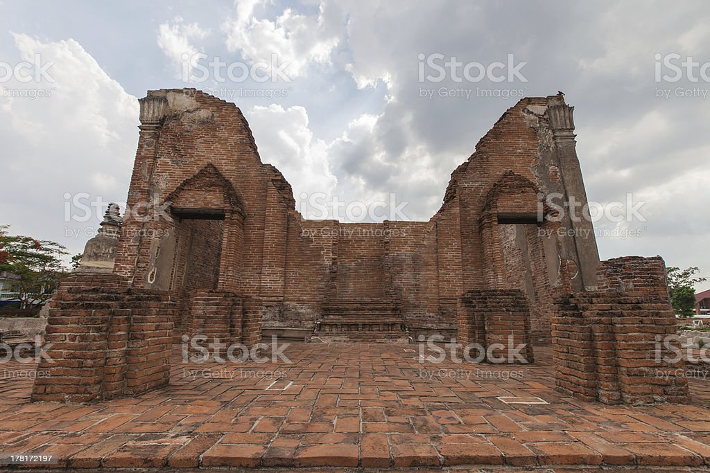 ancient temple walls Ayutthaya royalty-free stock photo
