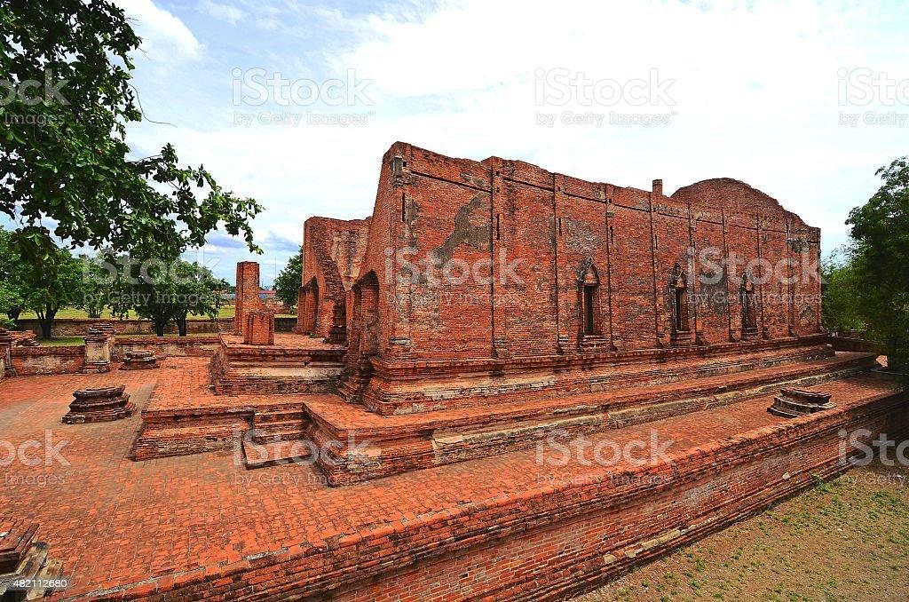 Ancient Temple, Wat Mahayong Ayuttaya Thailand. stock photo