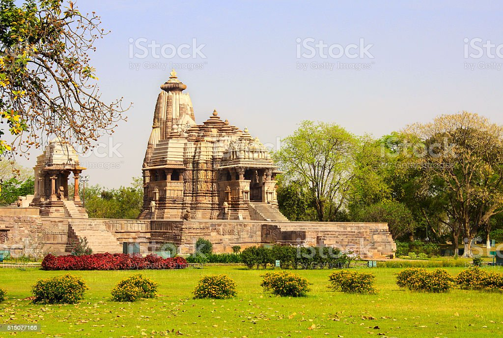 Ancient temple, Western Temples in Khajuraho, India. stock photo