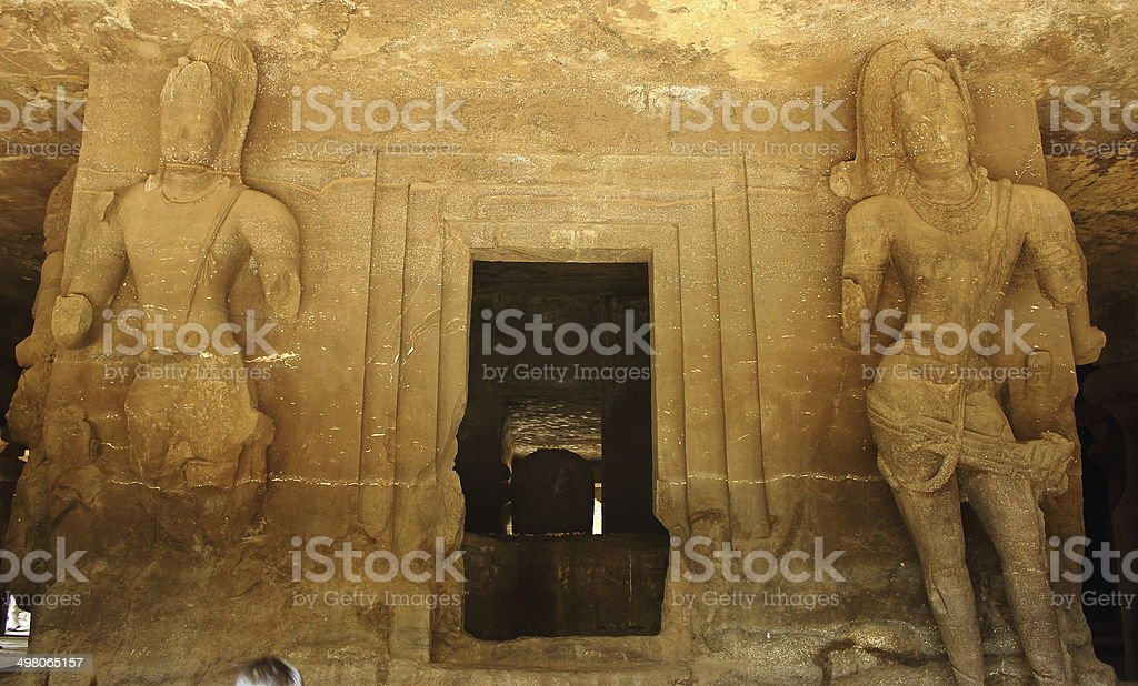 Ancient temple with hugh carvings in elephanta cave royalty-free stock photo