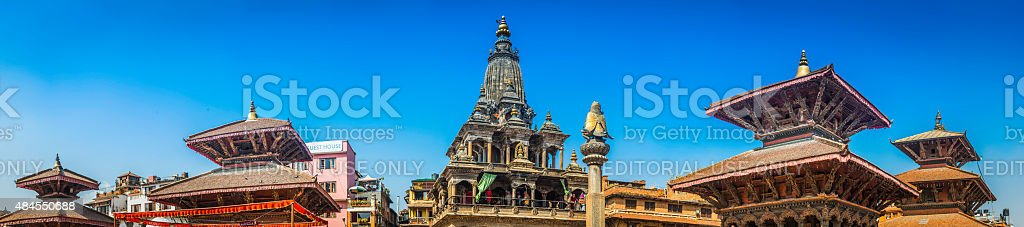 Ancient temples Buddhist shrines in Patan Durbar Square Kathmandu Nepal stock photo