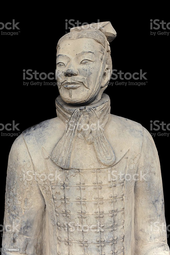 Ancient terracotta army figure in Xian - China royalty-free stock photo