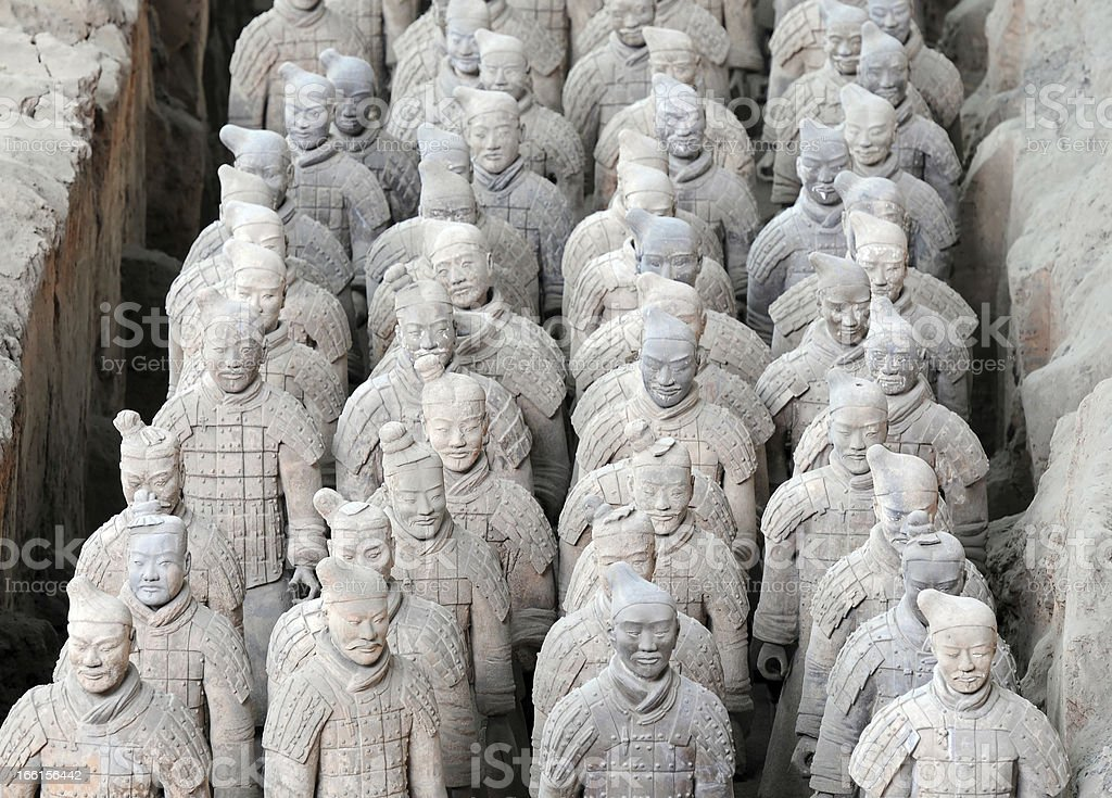 Ancient terracotta army figures in Xian - China royalty-free stock photo
