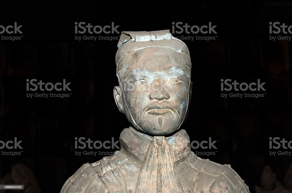 Ancient terracotta sculpture of a Chinese soldier Xian, China stock photo