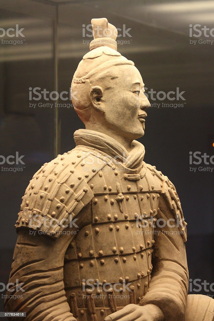 Ancient terracotta warrior stock photo