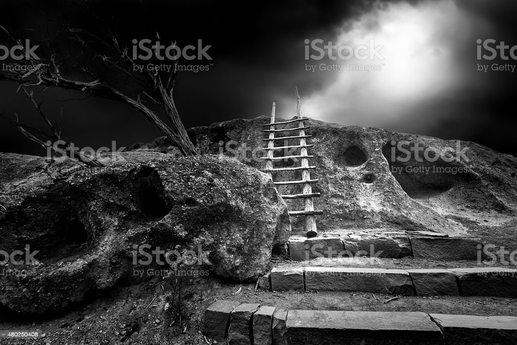 Ancient Tewa Indian Cave Dwellings stock photo