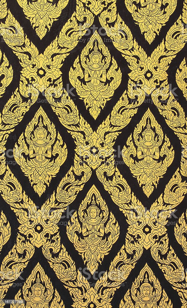 Ancient Thai art gold painting pattern royalty-free stock photo