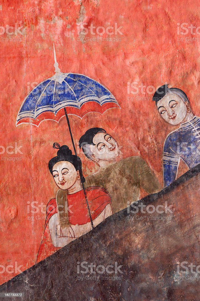 Ancient Thai Buddhist temple mural. royalty-free stock photo