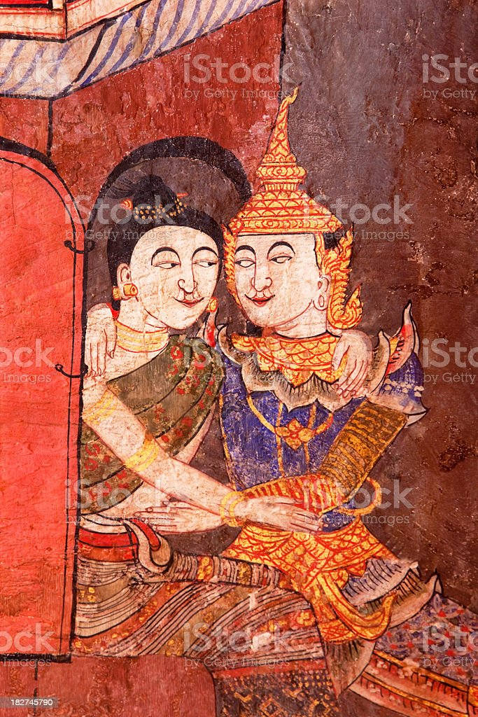 Ancient Thai Buddhist temple mural. stock photo