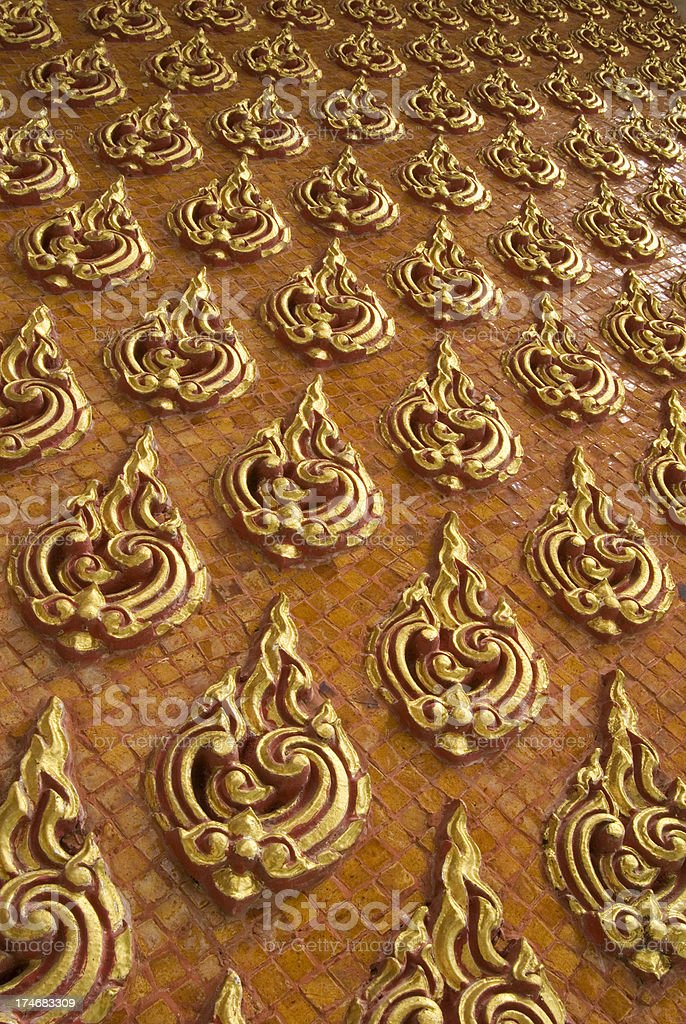 Ancient Thai decoration in a temple in Thailand stock photo