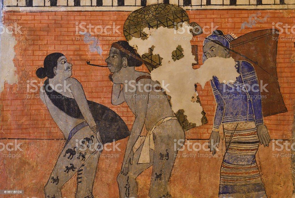 Ancient Thai Lanna painting. stock photo