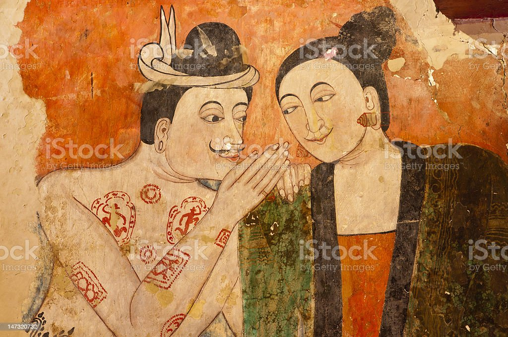 Ancient Thai Mural Painting royalty-free stock photo