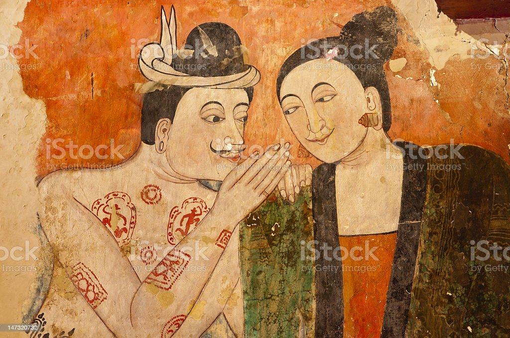 Starożytny tajski Malarstwo ścienne zbiór zdjęć royalty-free