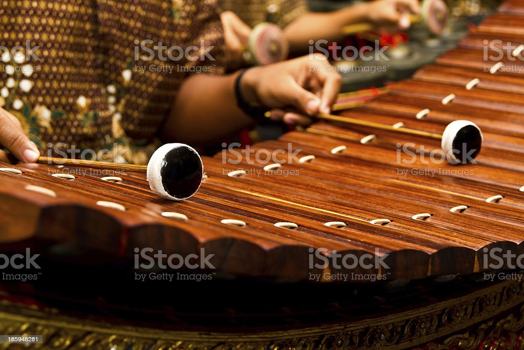 ancient thai style xylophone stock photo