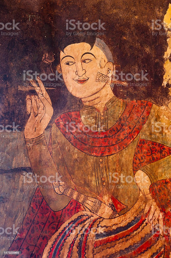 Ancient Thai temple mural background royalty-free stock photo