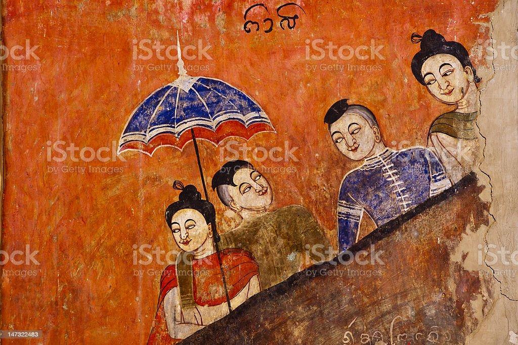 Starożytny tajskiej świątyni mural tle zbiór zdjęć royalty-free