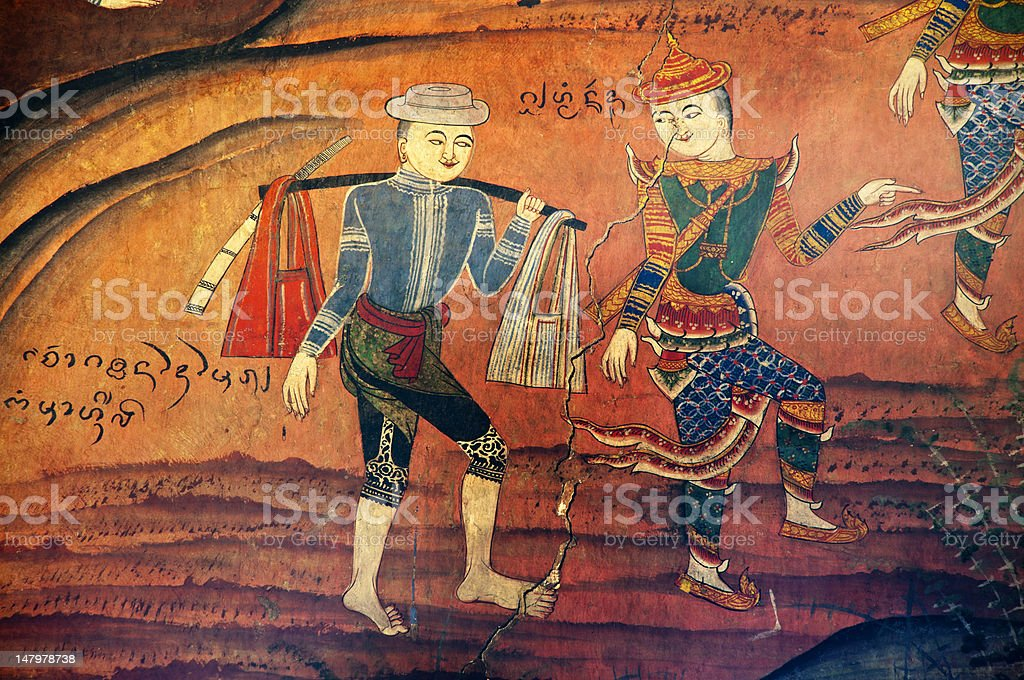 Ancient Thai temple mural background stock photo