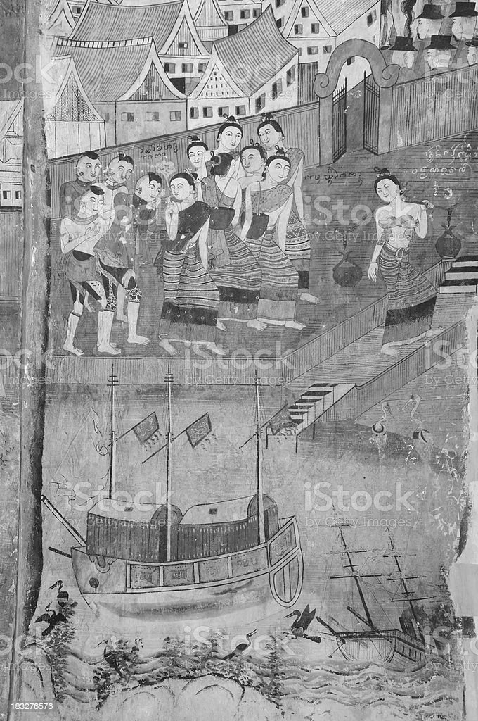 Ancient Thai temple mural background. royalty-free stock photo