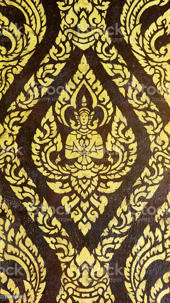 Ancient Thai temple mural. royalty-free stock photo