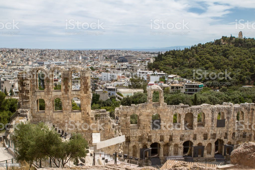 Ancient theater, Athens, Greece stock photo