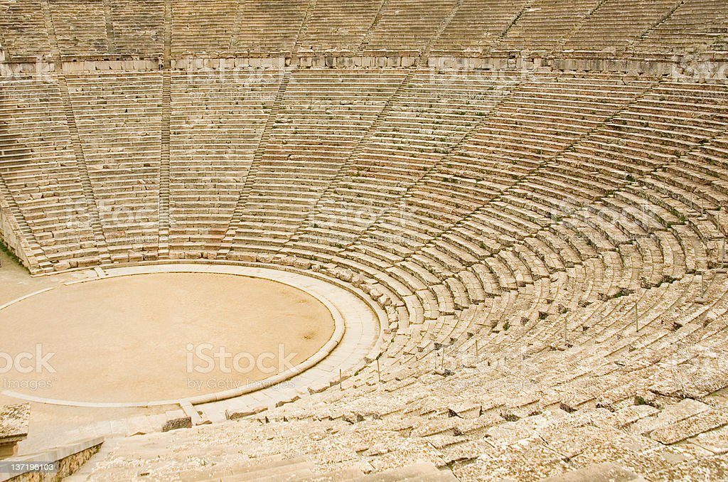 Ancient theater in Epidaurus, Greece stock photo