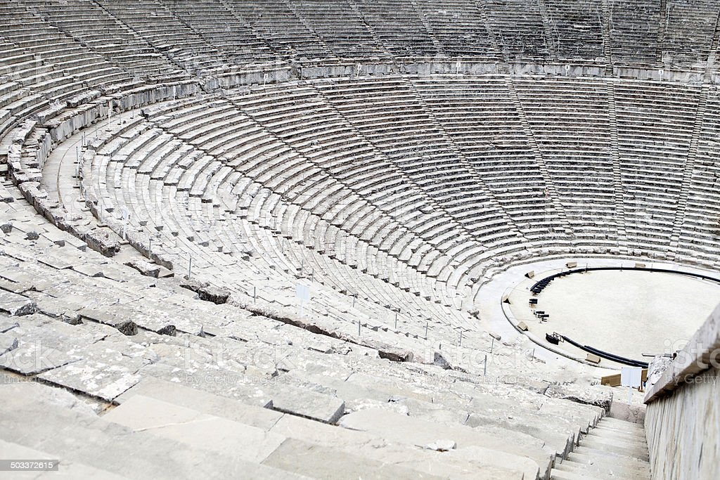 Ancient theater in Epidaurus, Greece stock photo