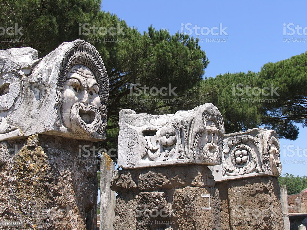 Ancient theater masks stock photo