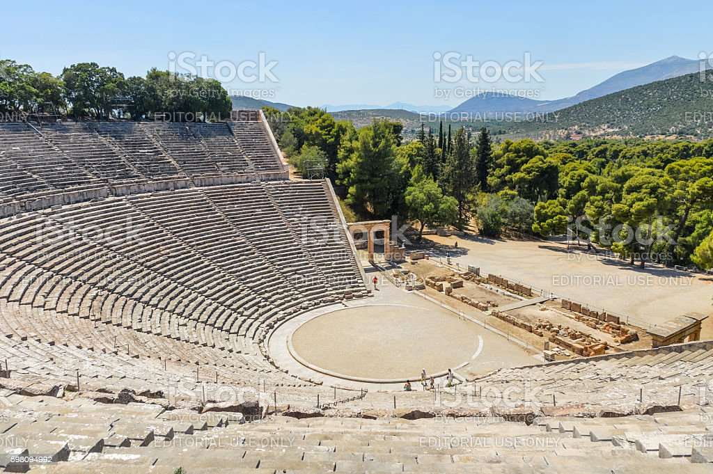 Ancient Theater of Epidaurus in Greece stock photo
