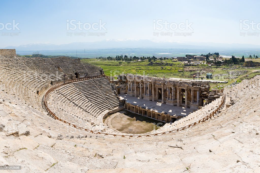 Ancient theater of the Roman city of Hierapolis in Pamukkale, Turkey. stock photo