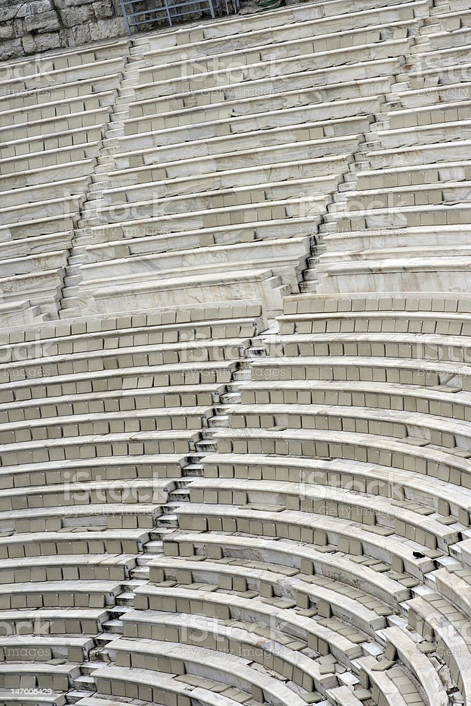 ancient theater seats stock photo