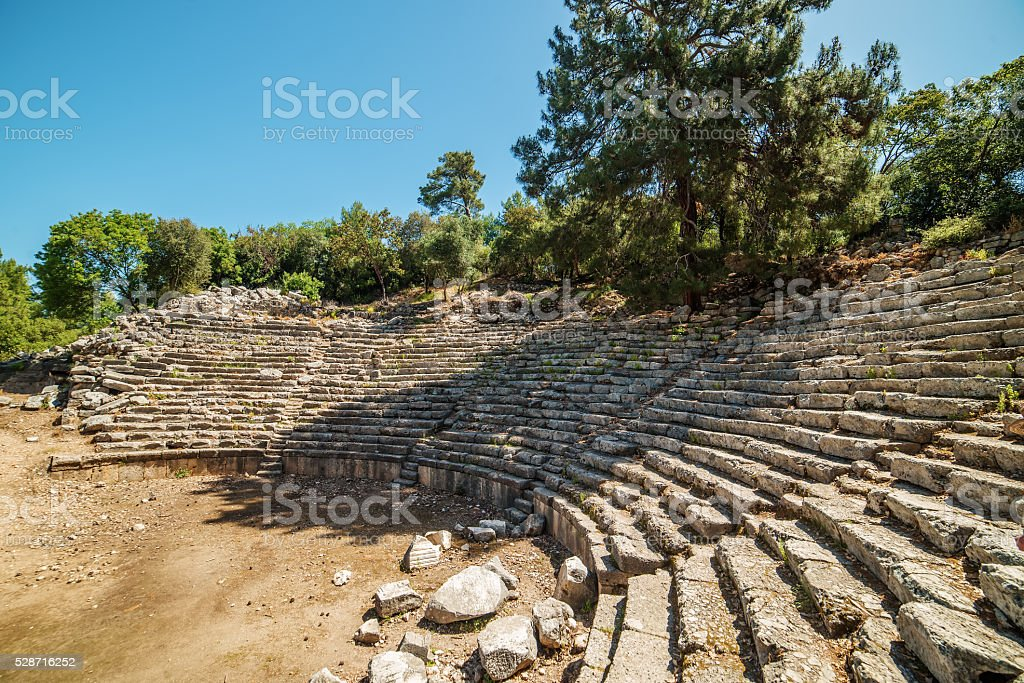 Ancient theatre in Antique city of Phaselis, Antalya Destrict, Turkey stock photo